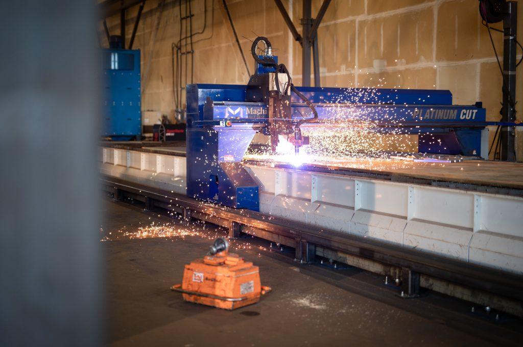 A Machitech Platinum Cut Plasma Cutting Table cutting steel plate